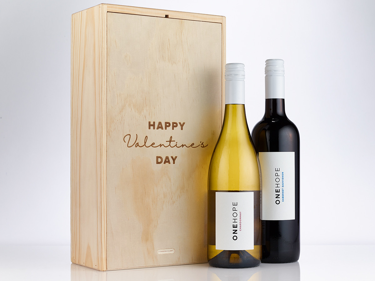 Happy Valentine S Day Etched Two Bottle Wood Gift Box Set